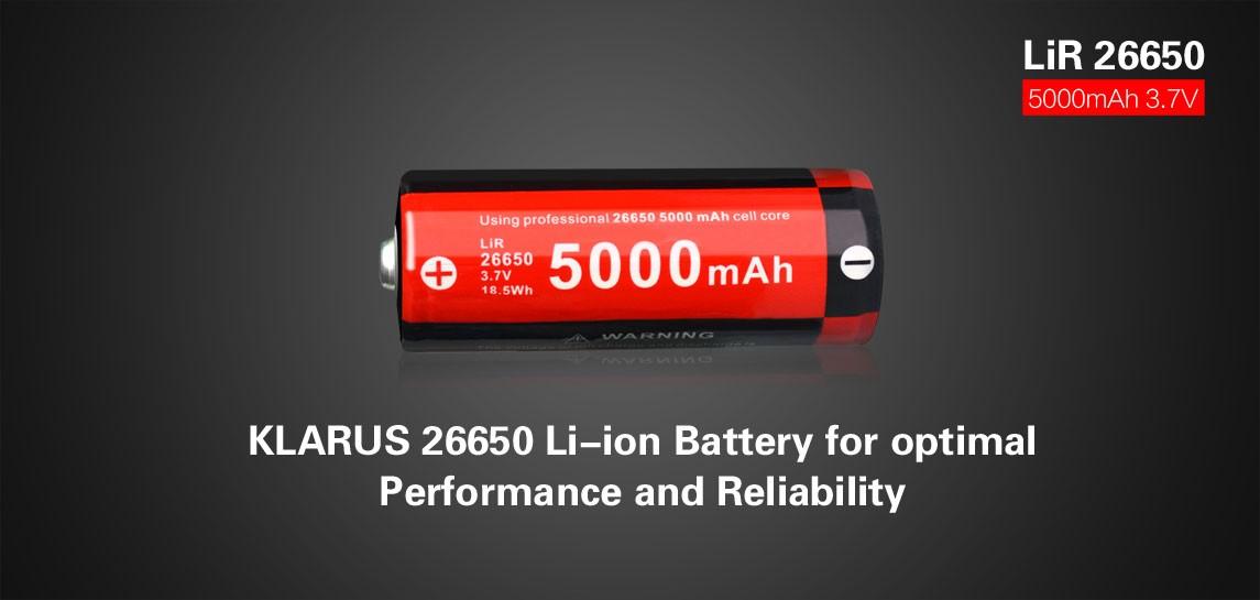 Klarus 26650 Lithium Akku, 5000mAh-2