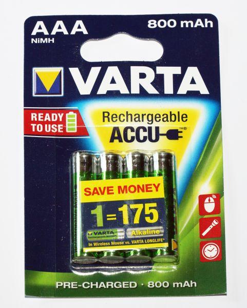 VARTA Longlife Accu Ready 2 use NiMh Akku, AAA, 800mAh